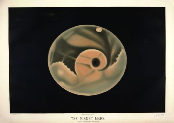 Trouvelot, Etienne Leopold: The Planet Mars. (The Trouvelot Astronomical Drawings, 1882). Astronomy/Space Print/Poster. Sizes: A1/A2/A3/A4 (0023)